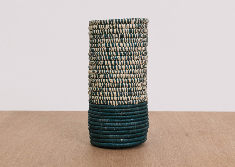 Half Heathered Blue Night Raffia Vase