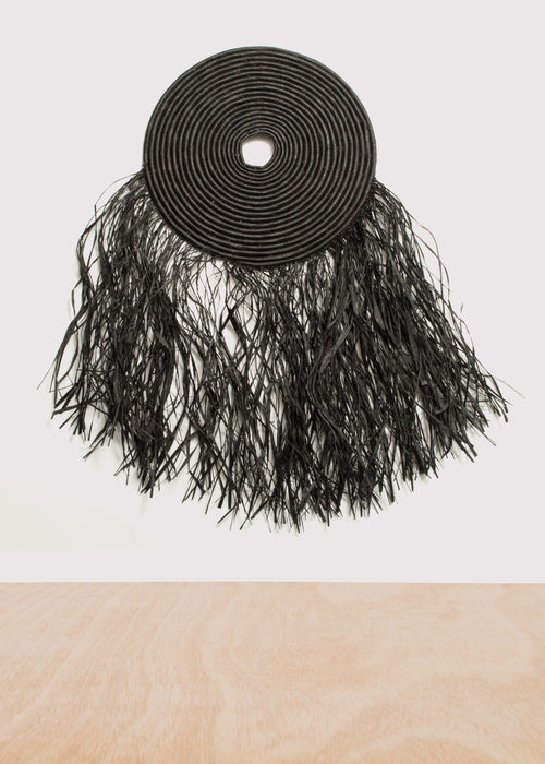 Small Fringed Black Wall Disc