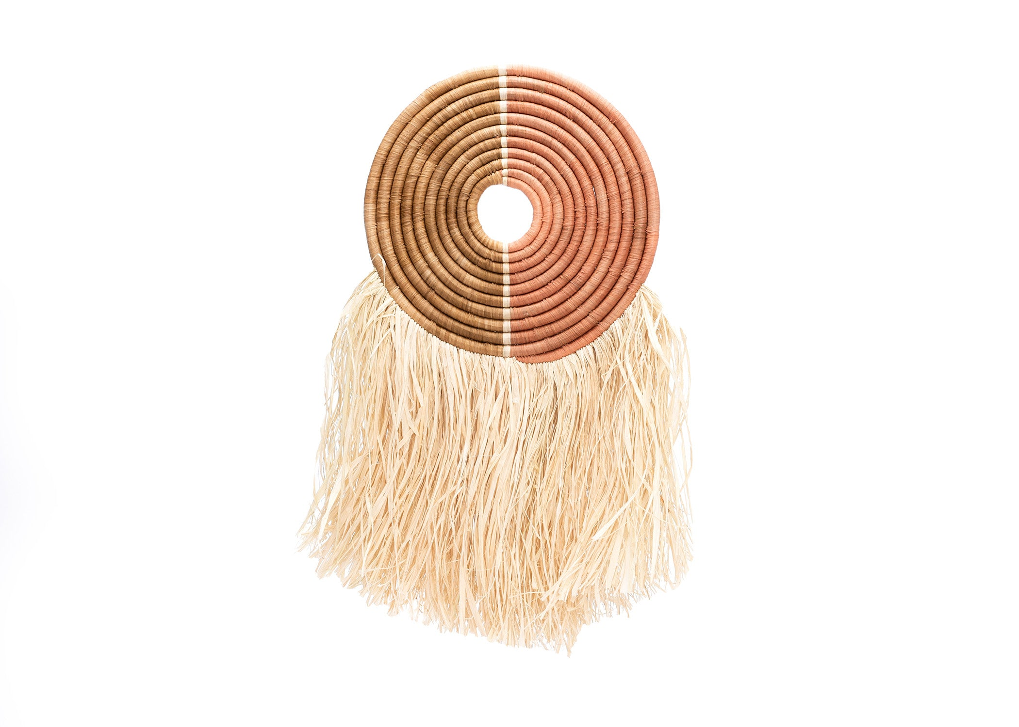 "12"" Small Peach + Tan Woven Wall Disc Art - KAZI"