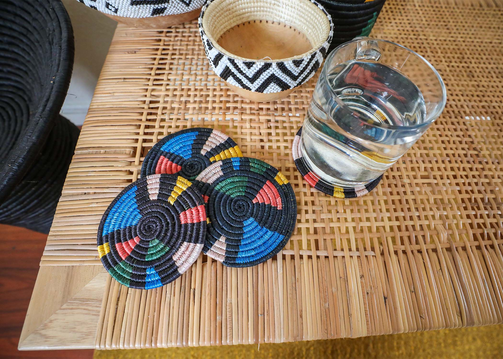 Black + Neon Mosaic Coasters, Set of 4 - KAZI - Artisan made high quality home decor and wall art