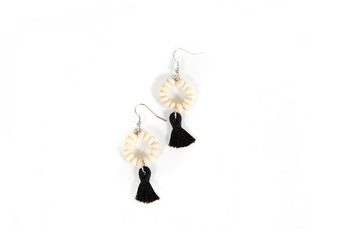 Black + White Tasseled Earrings