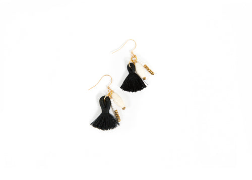 Black + White Spiked Tassel Earrings