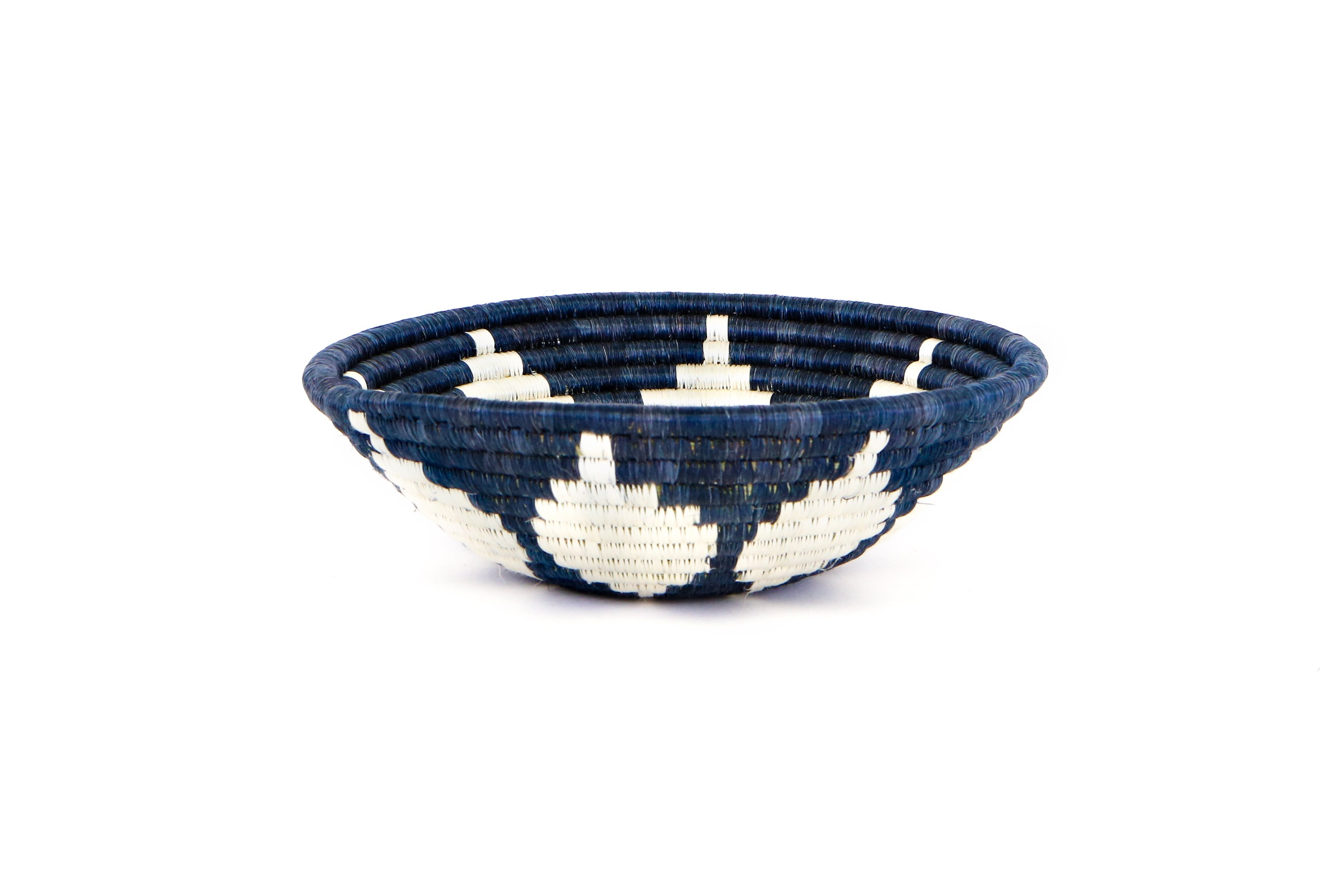 "10"" Medium Blue Night Round Basket - KAZI - Artisan made high quality home decor and wall art"