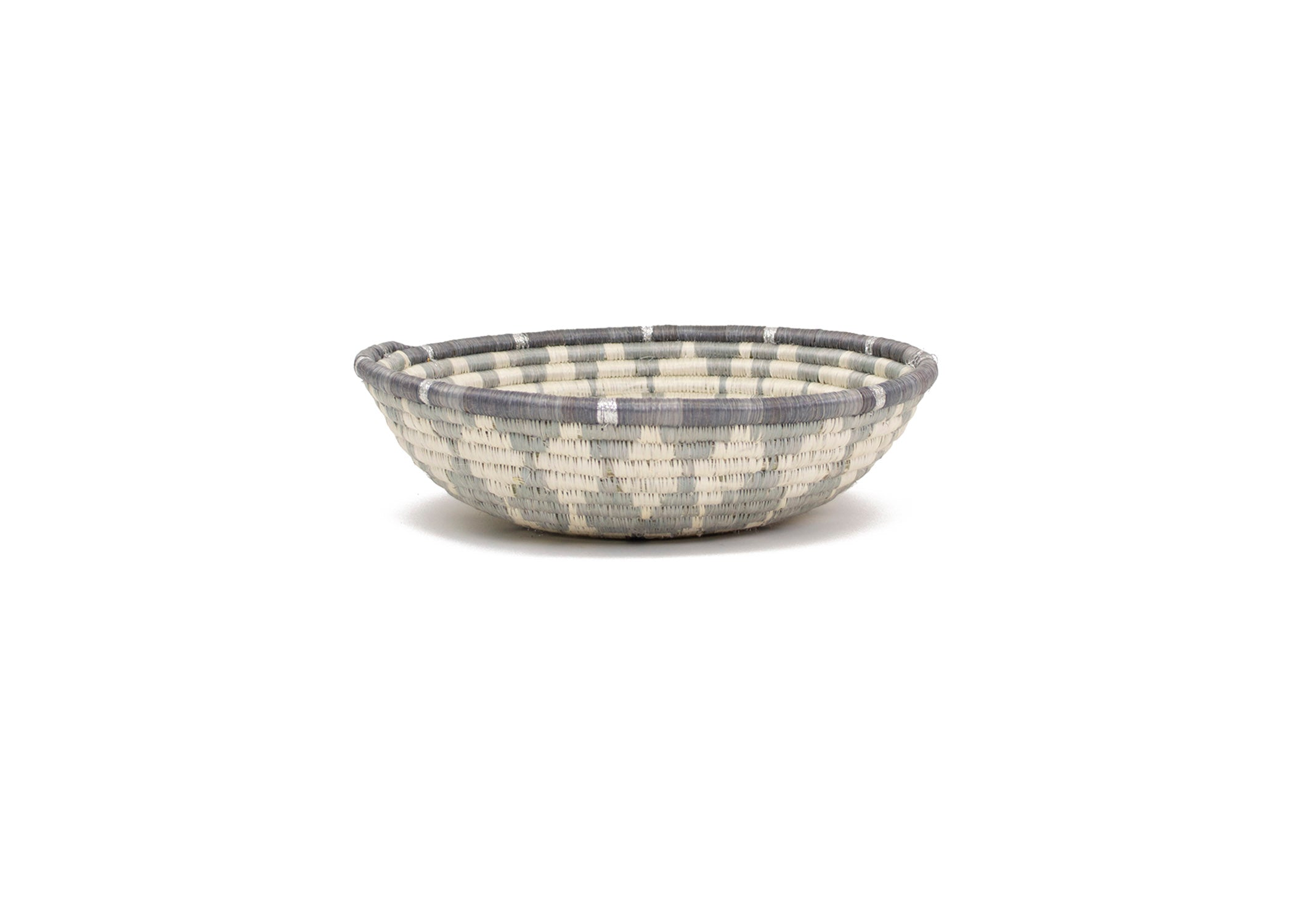 Large Metallic Silver Gray Intore Bowl