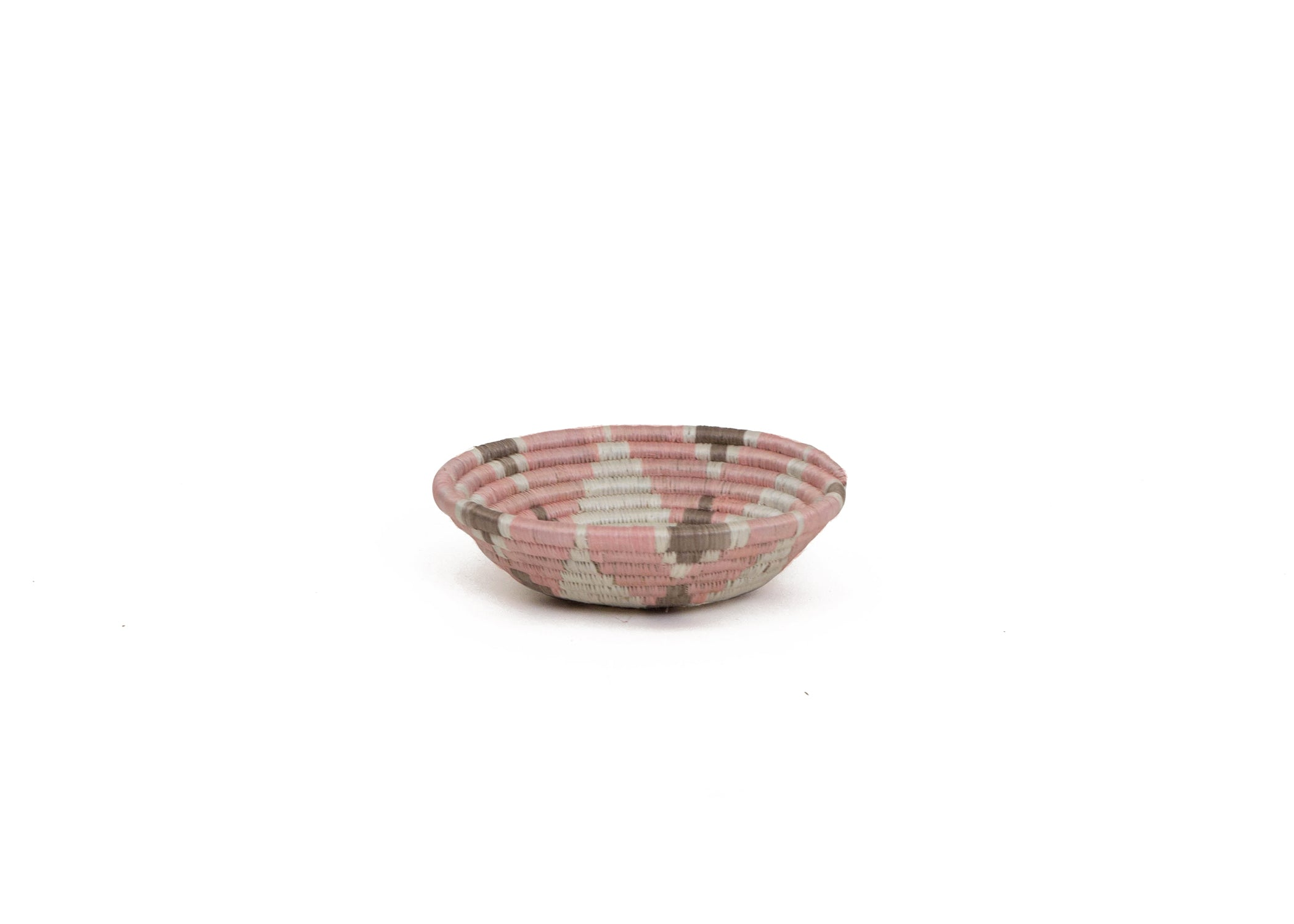 "6"" Small Petal Pink + Sandstorm Hope Round Basket - KAZI - Artisan made high quality home decor and wall art"