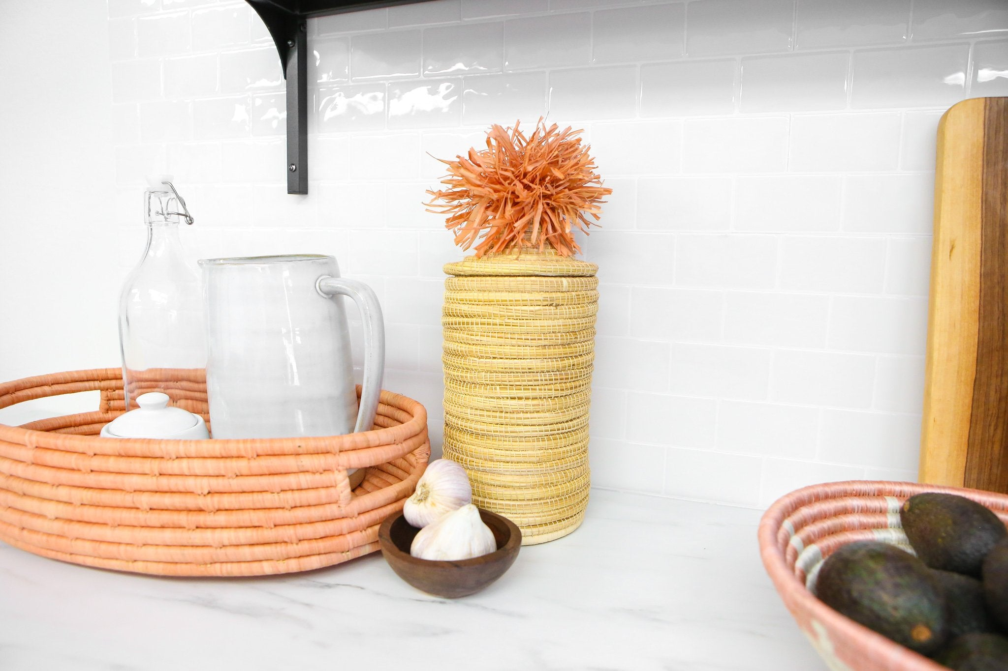 Peach Raffia Bread Basket With Handles - KAZI - Artisan made high quality home decor and wall art