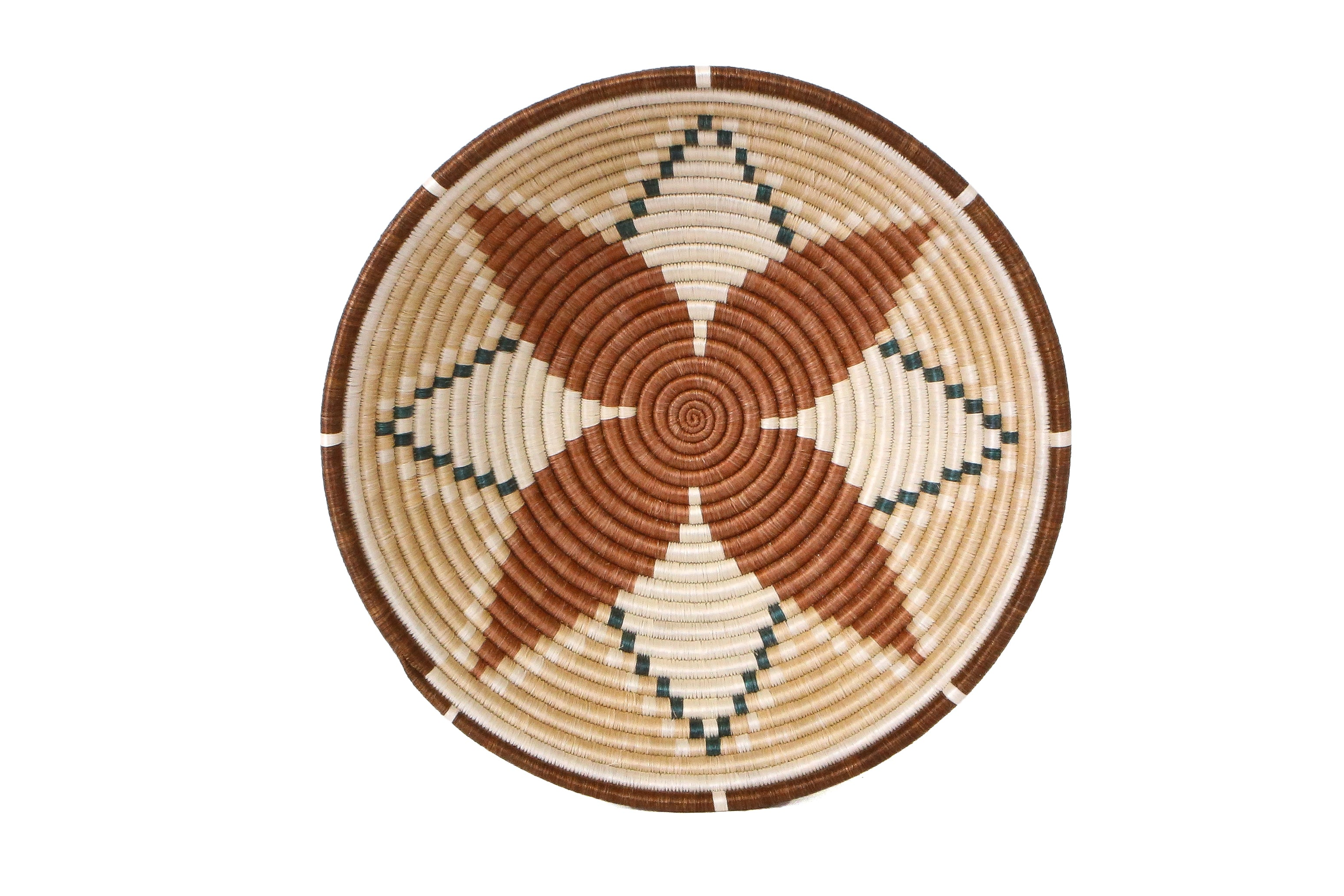 "14"" Extra Large Shades of Sand Hope Round Basket - KAZI - Artisan made high quality home decor and wall art"