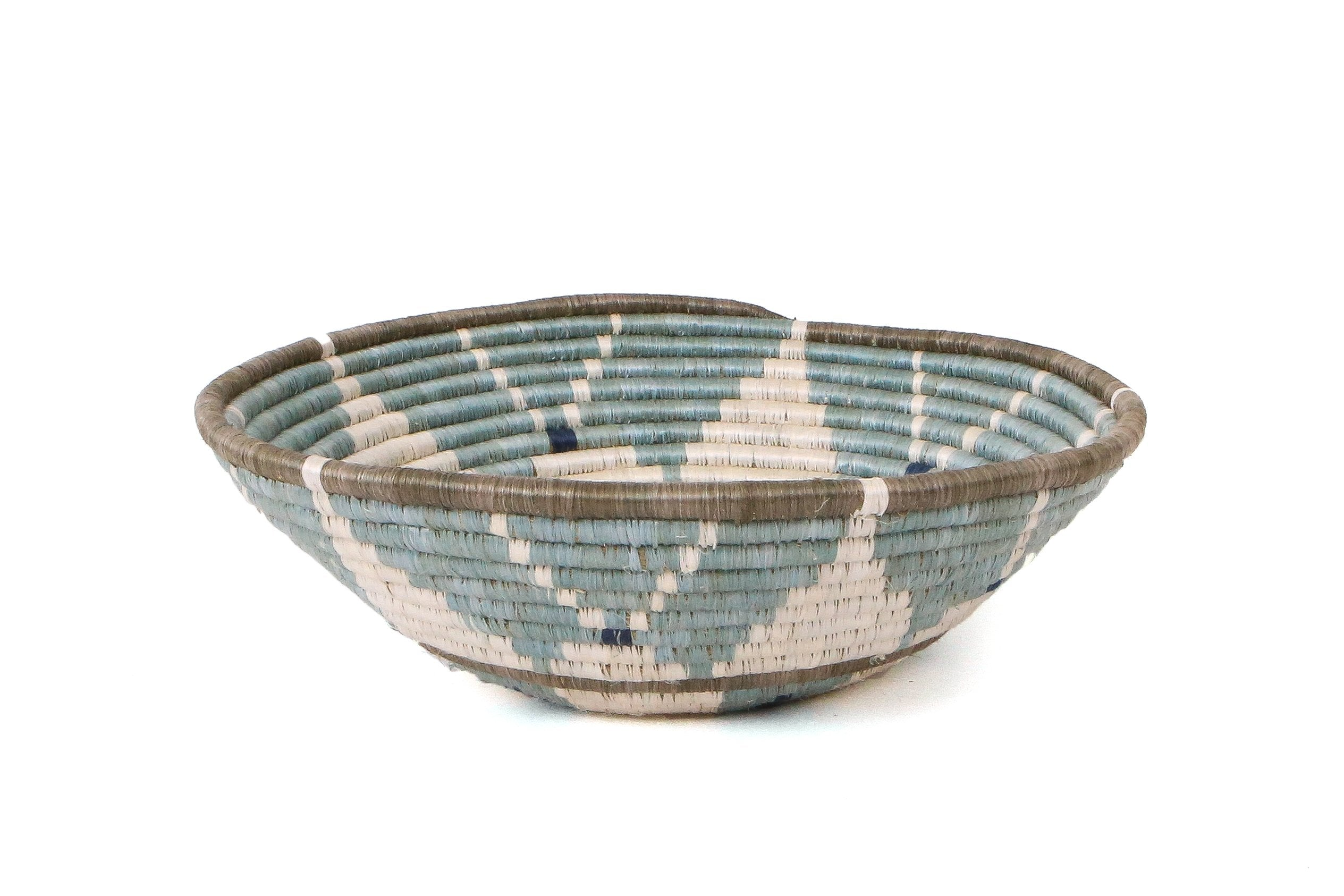 "14"" Extra Large Silver Blue Hope Round Basket - KAZI"