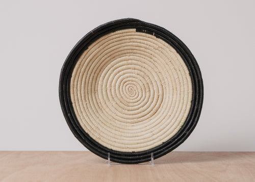 Dipped Black + Natural Large Raffia Basket