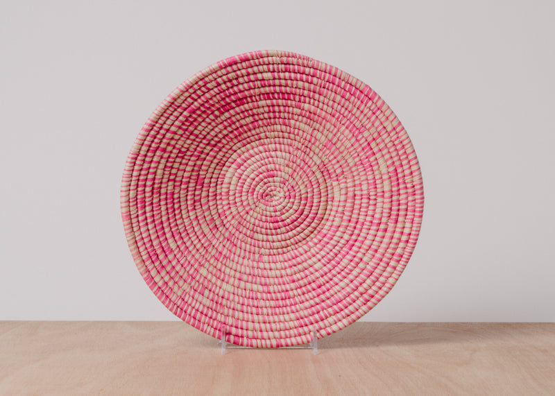 Heathered Fandango Pink Large Raffia Basket