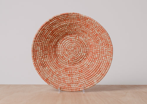 Heathered Burnt Orange Large Raffia Basket