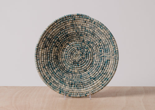 Heathered Blue Night Large Raffia Basket