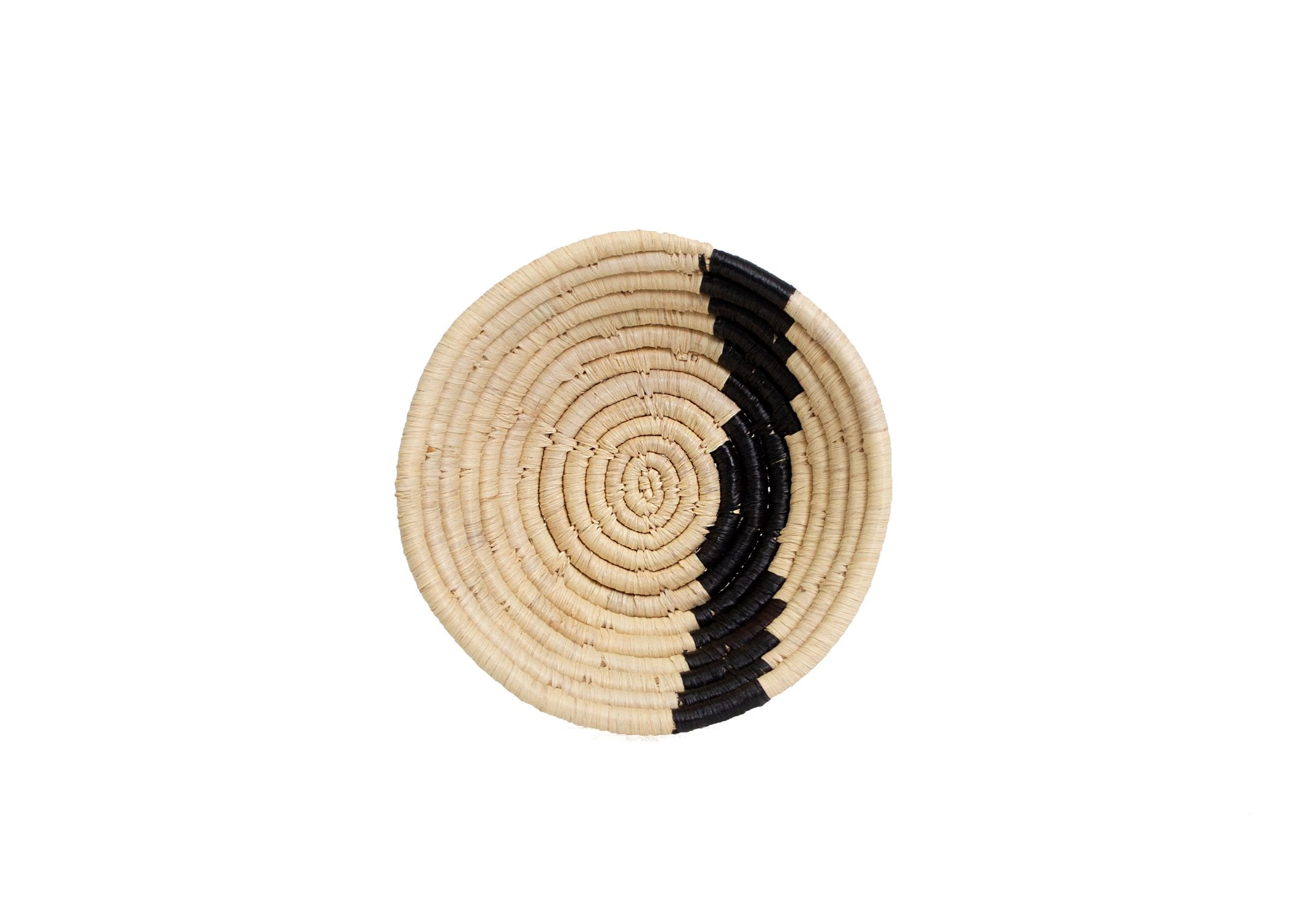 "6"" Small Black + Natural Striped Round Basket - KAZI - Artisan made high quality home decor and wall art"