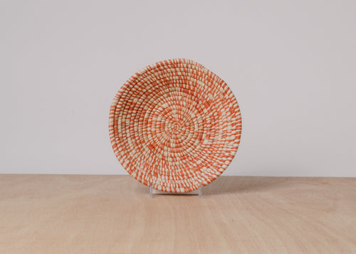Heathered Burnt Orange Small Raffia Basket