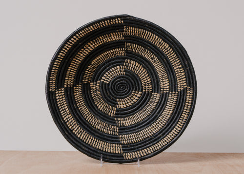 Geo Black Extra Large Raffia Bowl