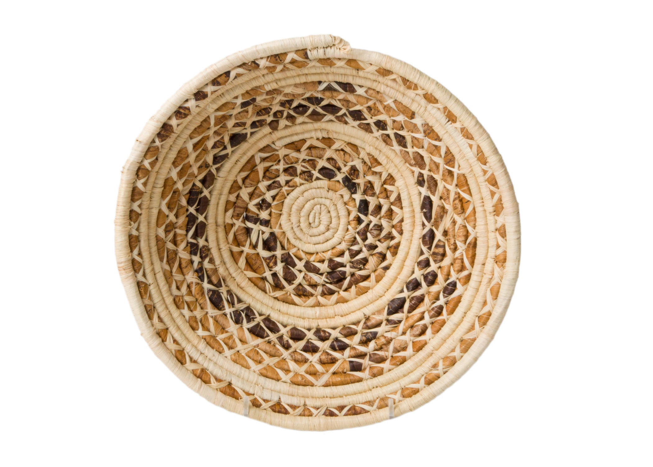 Banana Bark and Raffia Cross Stitch Large Bowl - KAZI - Artisan made high quality home decor and wall art