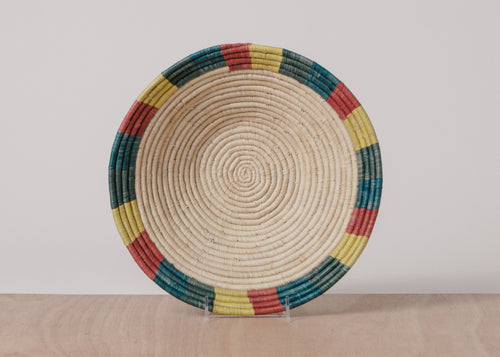 Color Blocked Dipped Raffia Large Bowl