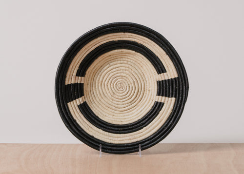 Kamba Black + Natural Raffia Large Bowl