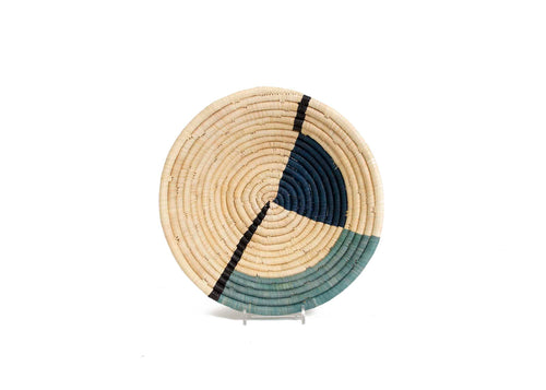 Geo Blue Night Medium Raffia Bowl