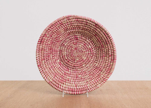 Heathered Rosette Large Raffia Bowl