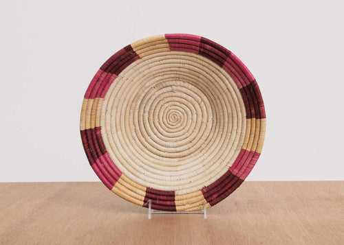 Rosette Color Blocked Dipped Raffia Large Bowl