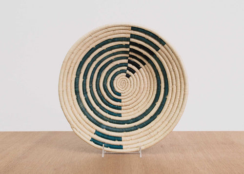 Geo Blue Night Large Raffia Bowl