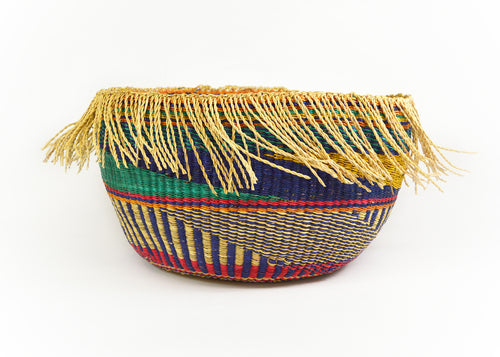 Indigo and Cherry Fringed Basket