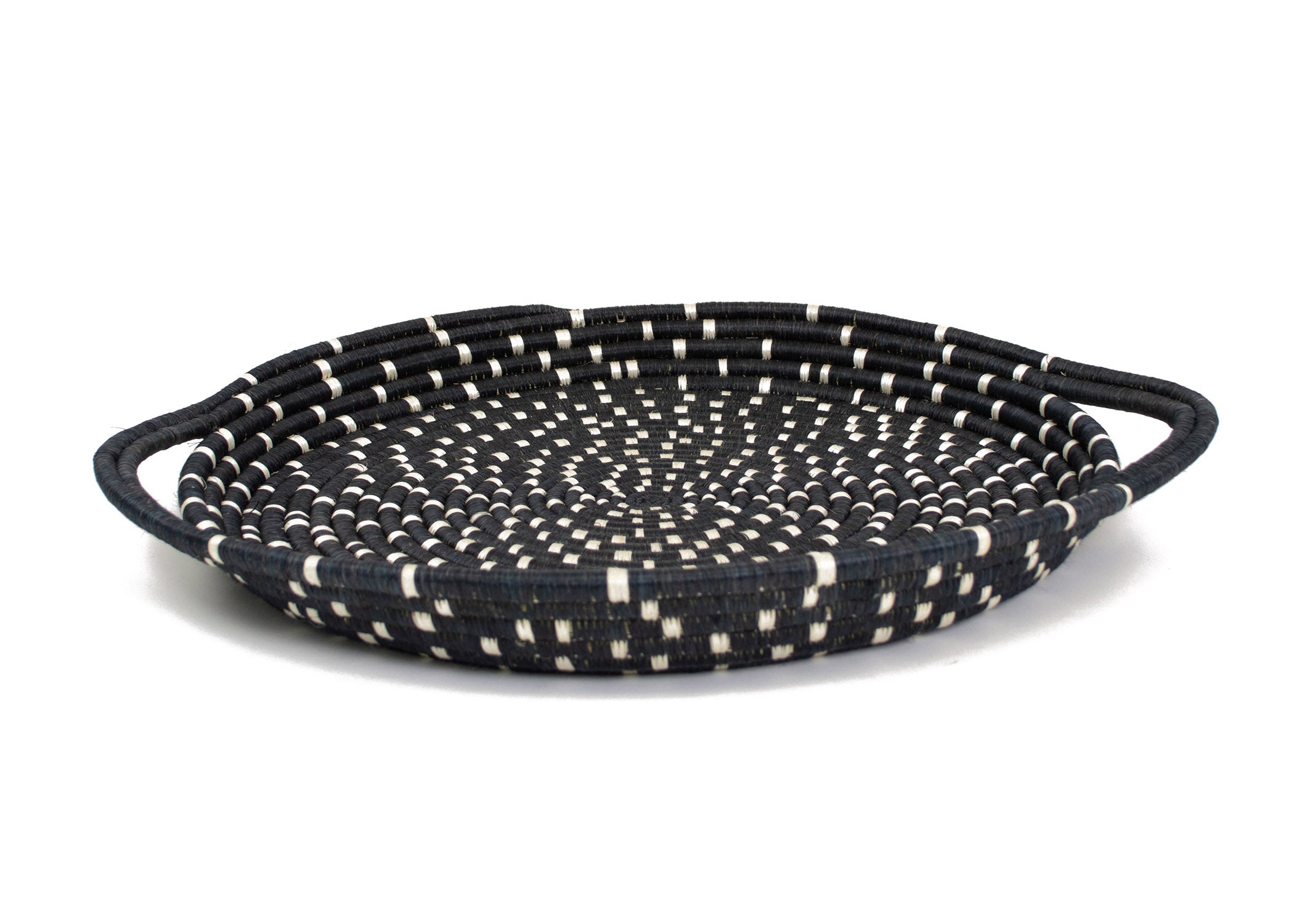 Speckled Black Serving Tray with Handles - KAZI - Artisan made high quality home decor and wall art