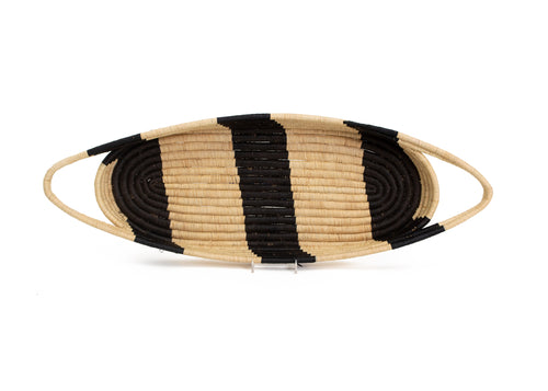 Black Striped Oval Raffia Tray