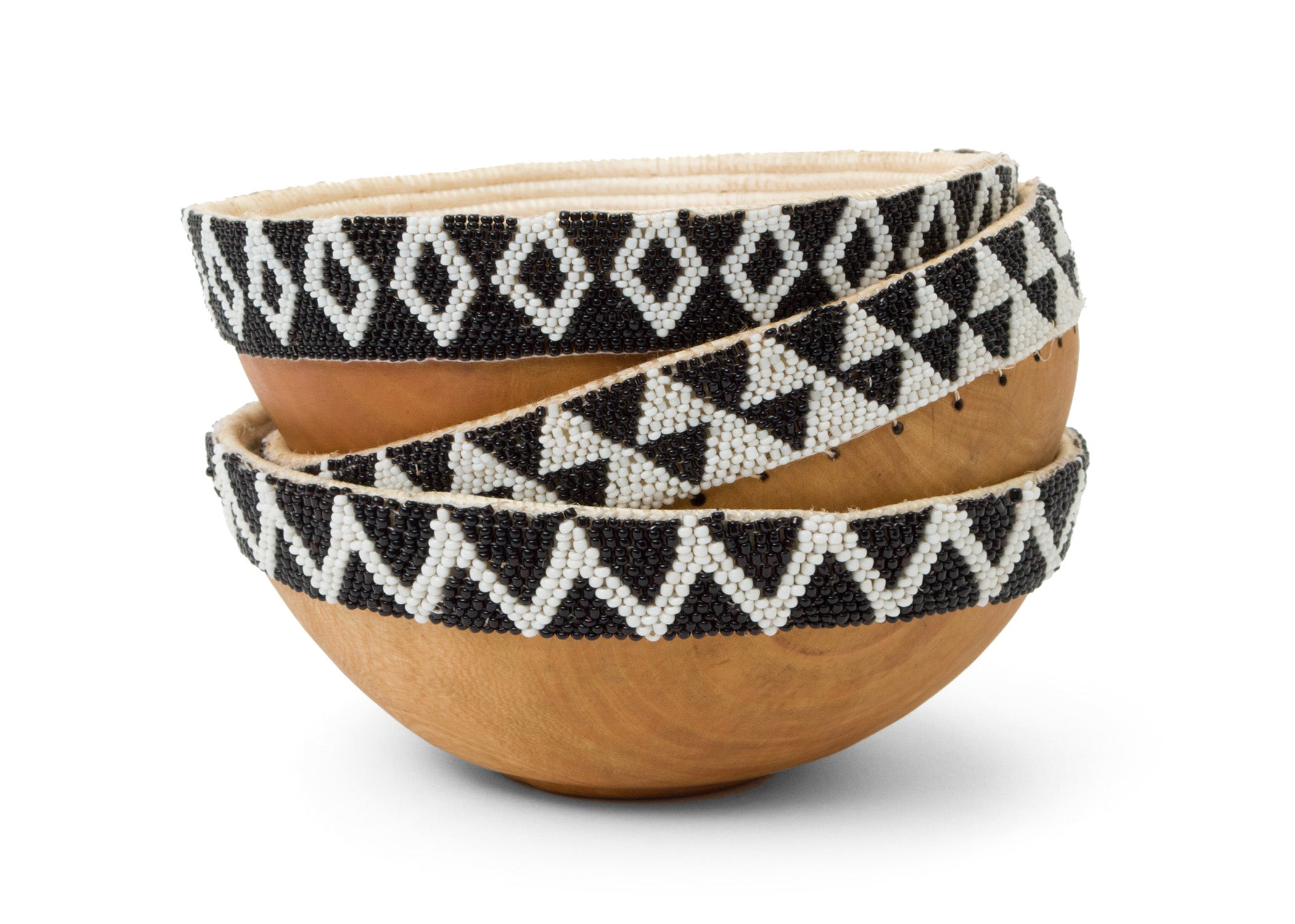 Black + White Beaded Wooden Bowl II - KAZI - Artisan made high quality home decor and wall art