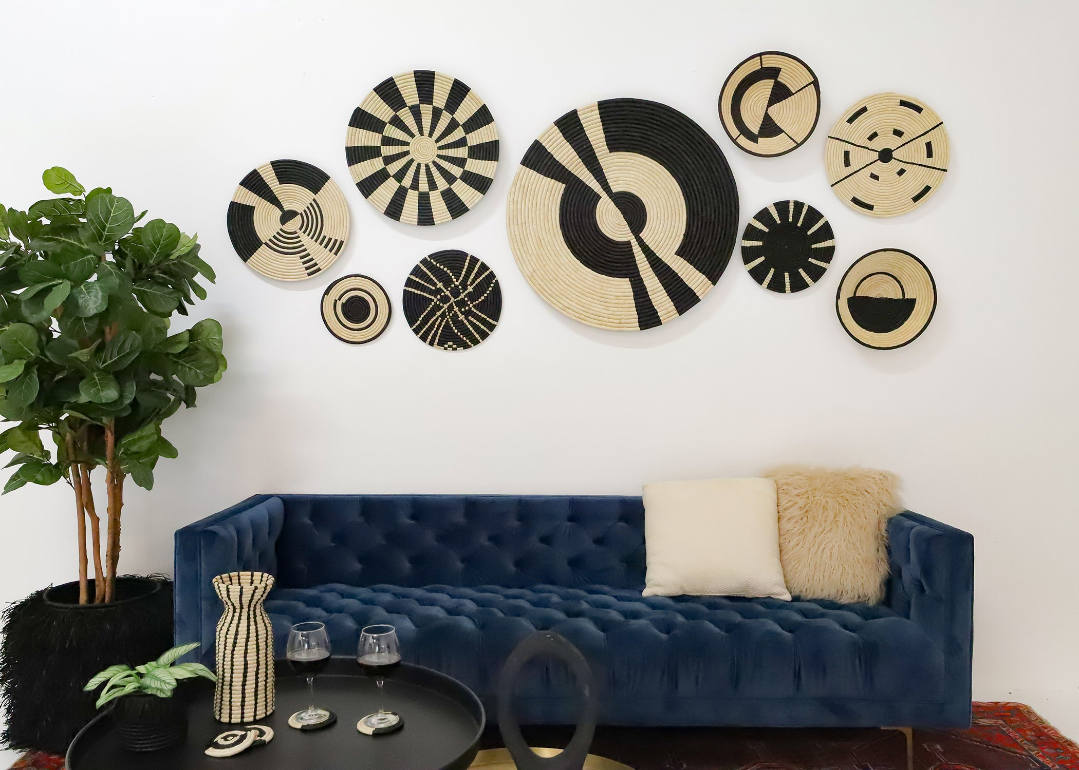 Compassed Black Plate - KAZI - Artisan made high quality home decor and wall art