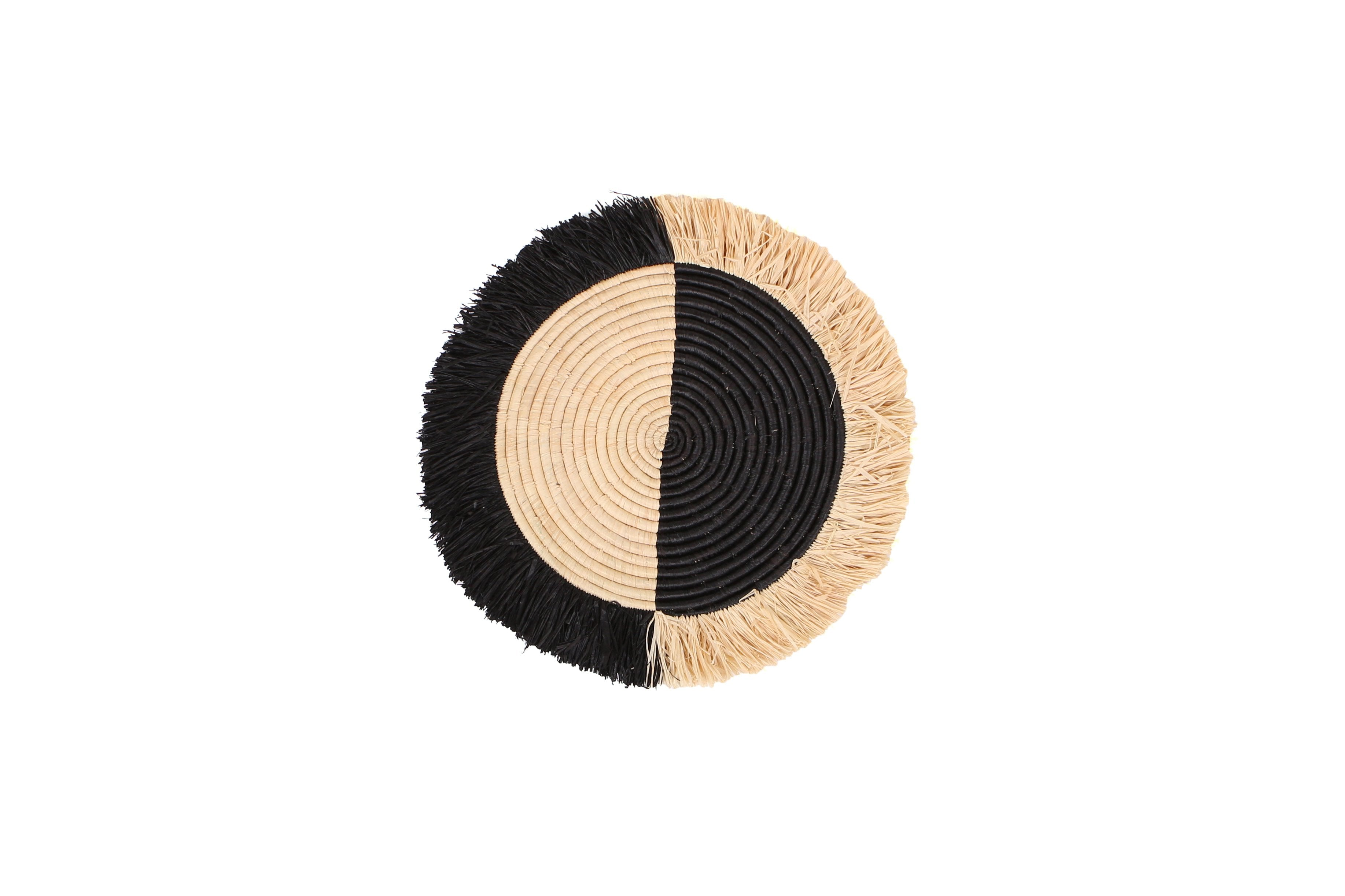 "14"" Small Black Half Moon Fringed Wall Disc - KAZI - Artisan made high quality home decor and wall art"