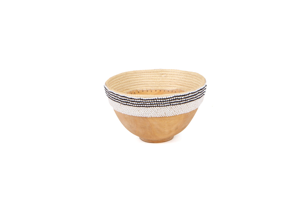Small Striped Beaded Wooden Bowl - KAZI - Artisan made high quality home decor and wall art