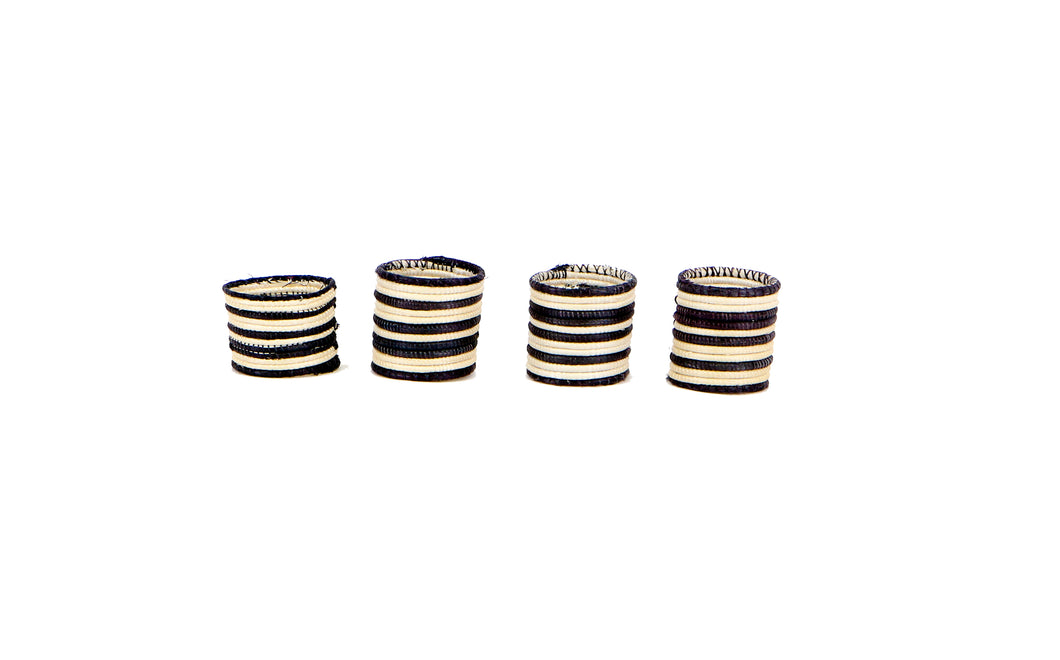 Black + White Striped Napkin Rings - KAZI - Artisan made high quality home decor and wall art
