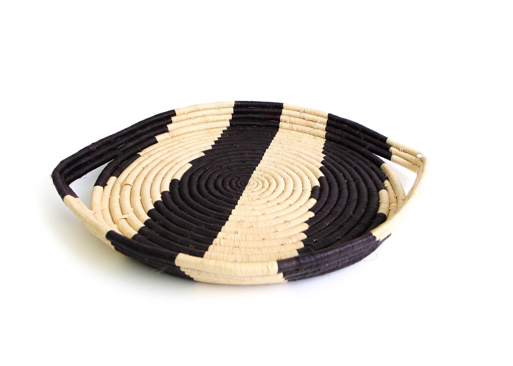 Black Striped Serving Tray - KAZI - Artisan made high quality home decor and wall art