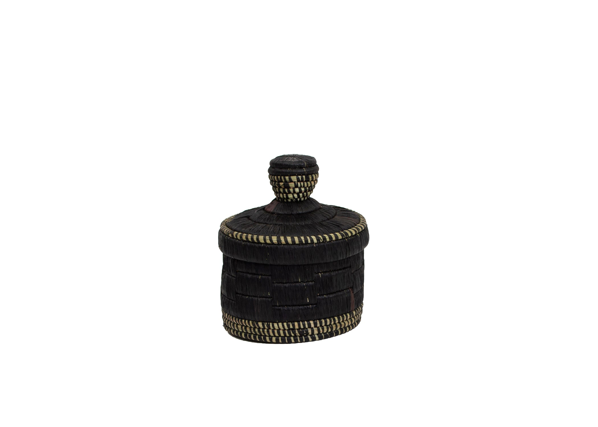 Short Black Raffia Box - KAZI - Artisan made high quality home decor and wall art