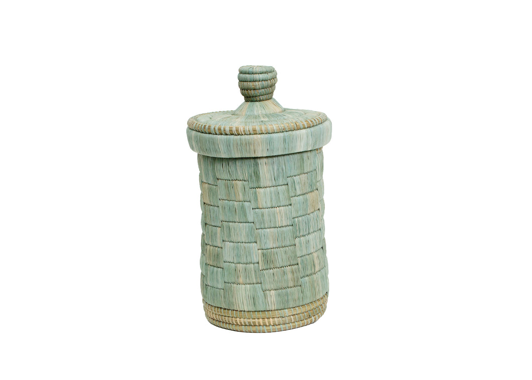 Tall Raffia Silver Blue Box - KAZI - Artisan made high quality home decor and wall art