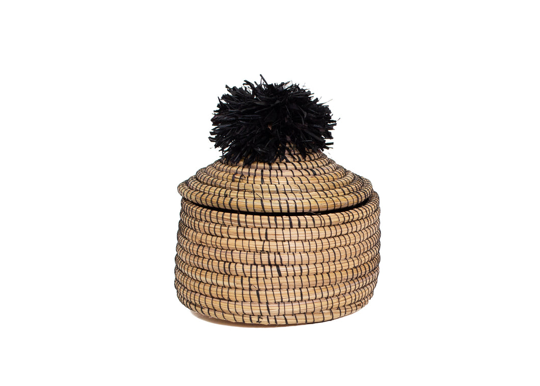 Black Penelope Pom Pom Box - KAZI - Artisan made high quality home decor and wall art