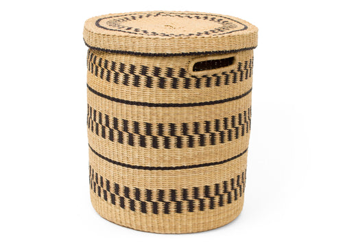 Natural Patterned Grass Hamper