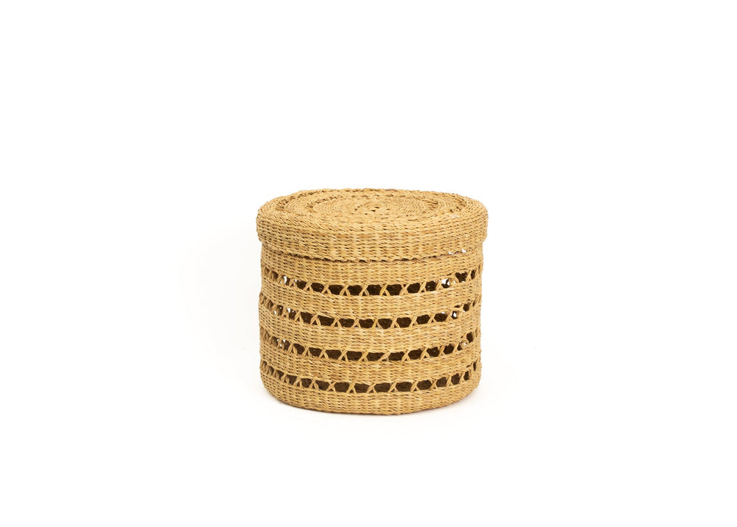Medium Lidded Lace Grass Box - KAZI - Artisan made high quality home decor and wall art