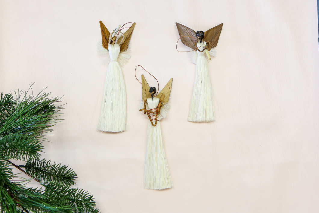 All Natural Sisal Angel Ornament - KAZI - Artisan made high quality home decor and wall art