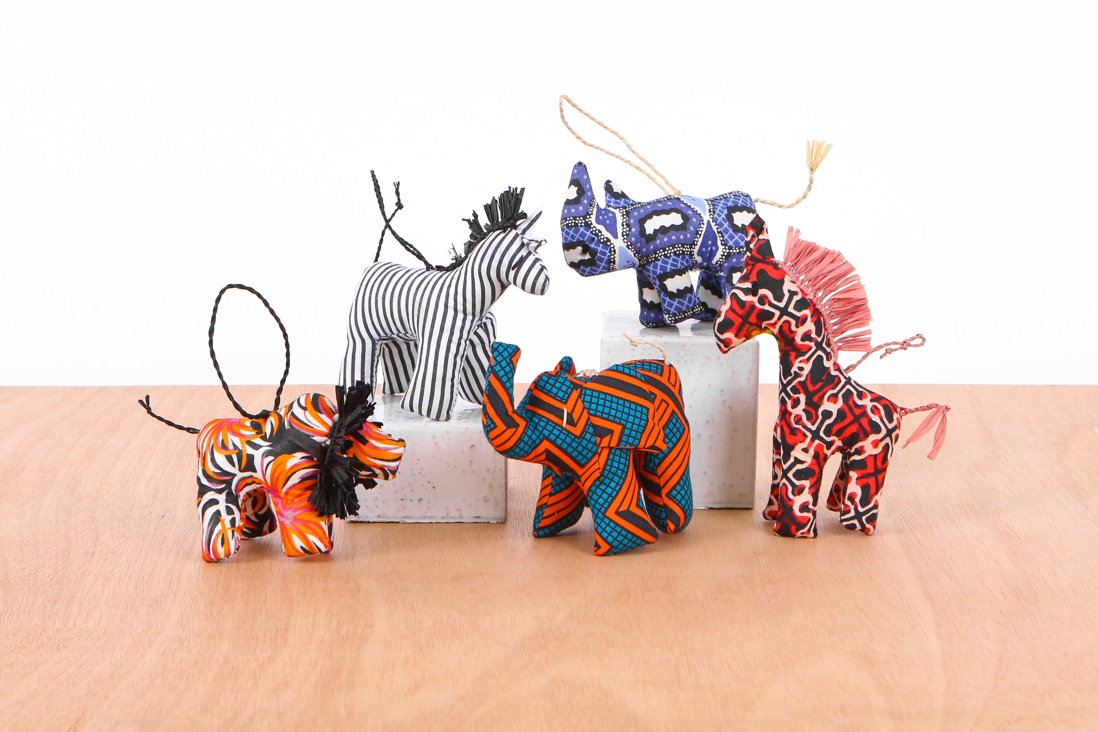 Set of 10 Assorted African Fabric Ornaments
