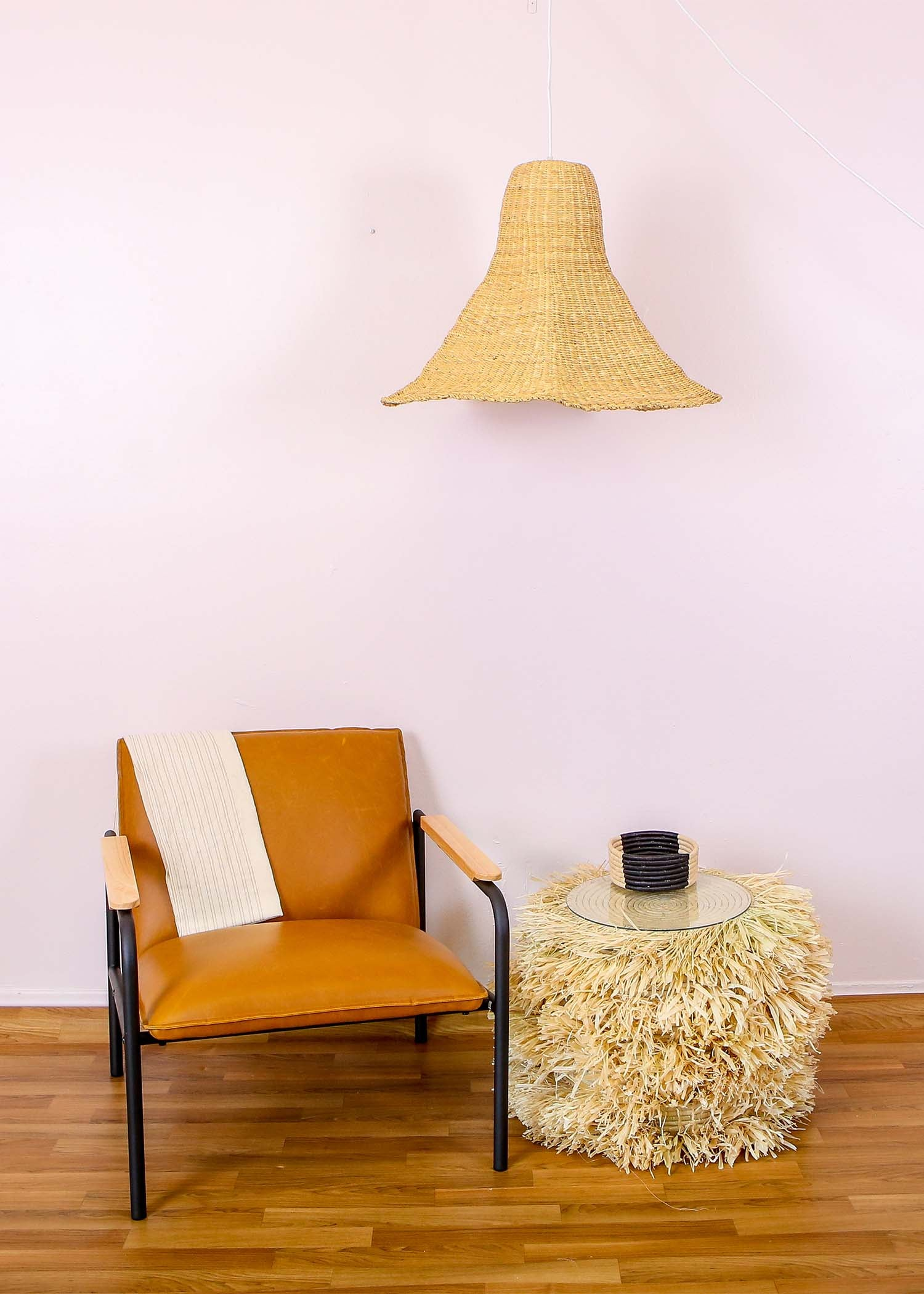 Fringed Natural Stool - KAZI
