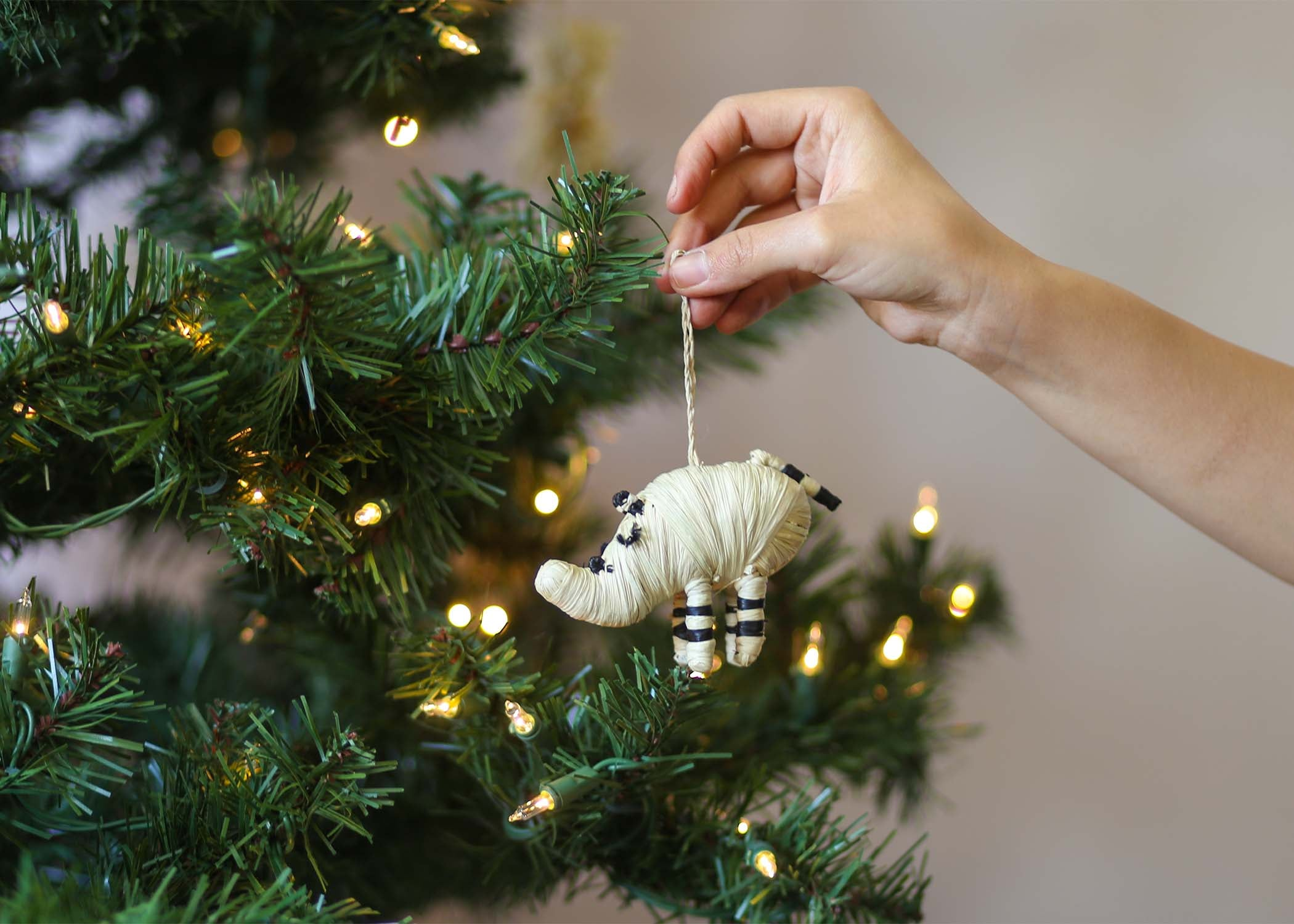 Black + Natural Raffia Rhino Ornament - KAZI