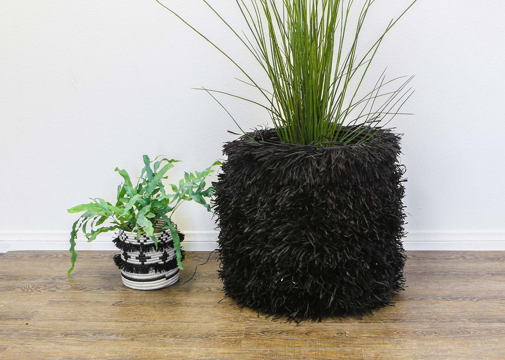 Fringed Black Stool with Frame (M) - KAZI - Artisan made high quality home decor and wall art