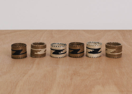 Black + Brown Napkin Rings, Set of 6