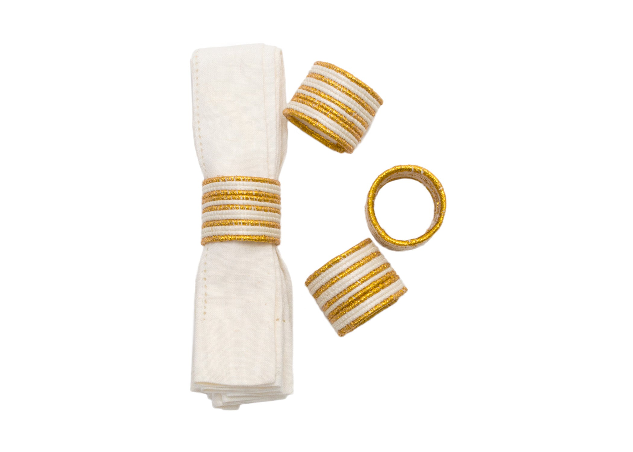 Metallic Gold Napkin Rings, Set of 4 - KAZI - Artisan made high quality home decor and wall art