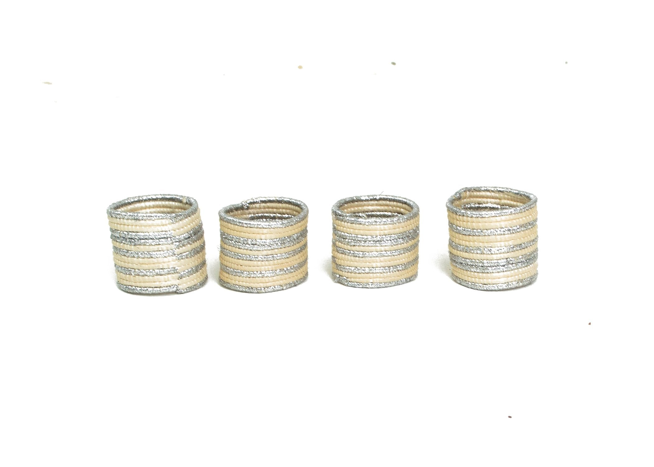 Metallic Silver Napkin Rings, Set of 4 - KAZI - Artisan made high quality home decor and wall art