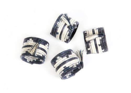Tasseled Black + White Napkin Rings, Set of 4