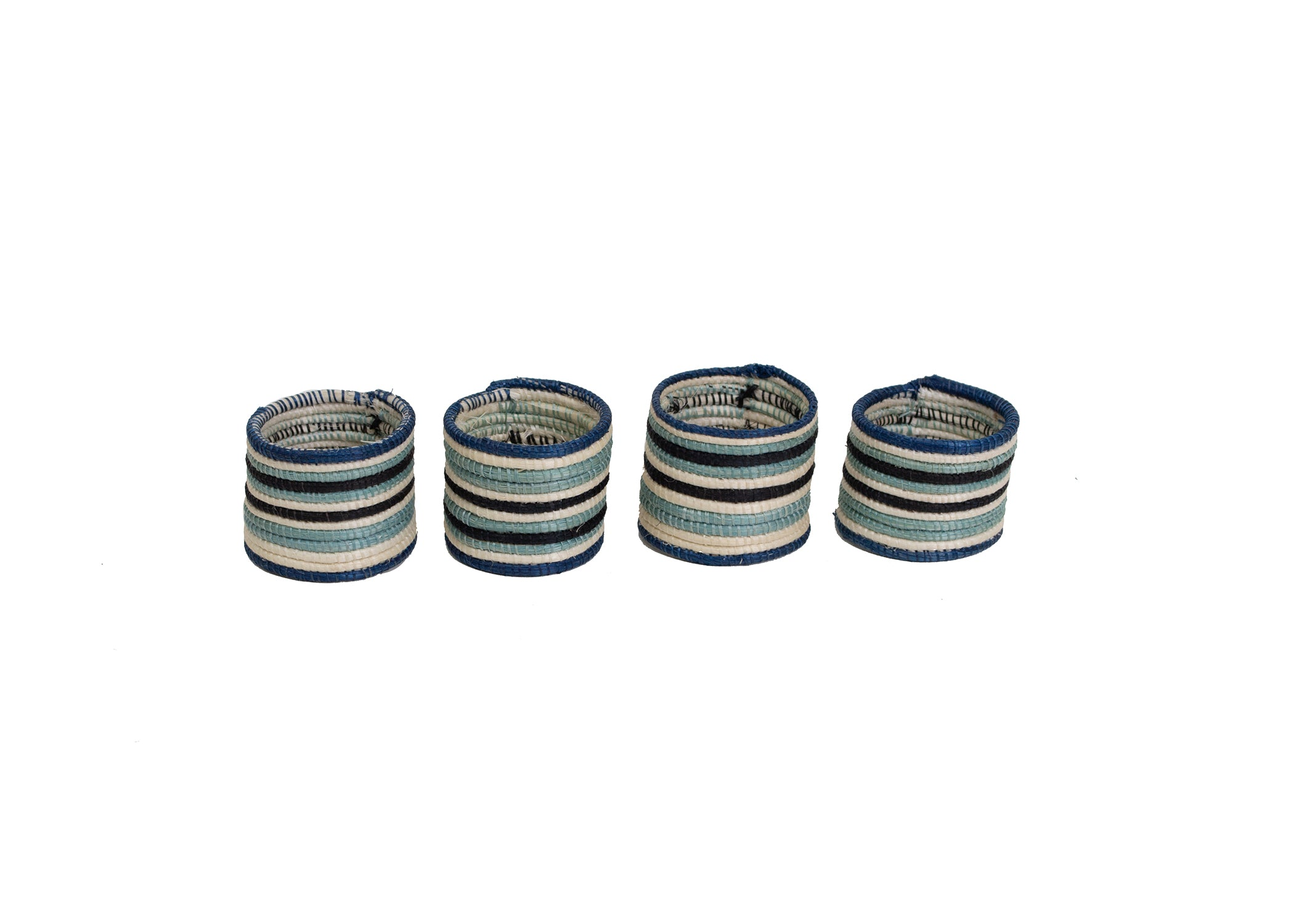 Striped Silver Blue Napkin Rings, Set of 4 - KAZI - Artisan made high quality home decor and wall art